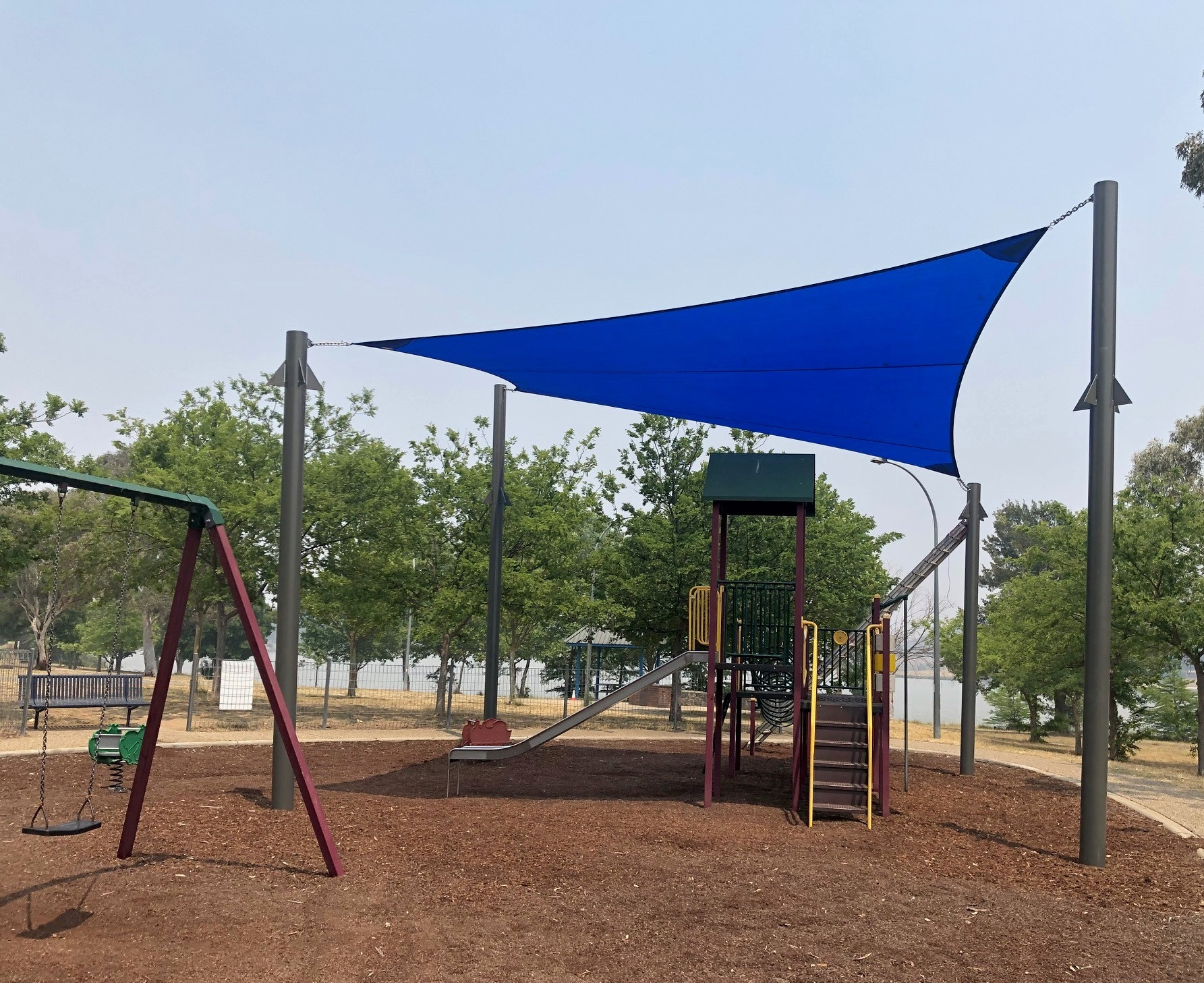 Image of shade sail installed at the playground on Mortimer Lewis Drive in Greenway