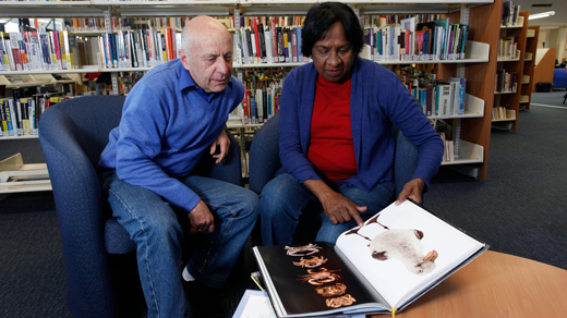 Two people reading about crabs and seagulls in a library.