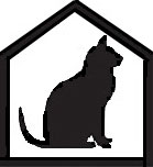 Silhouette of sitting cat within a house shape silhouette