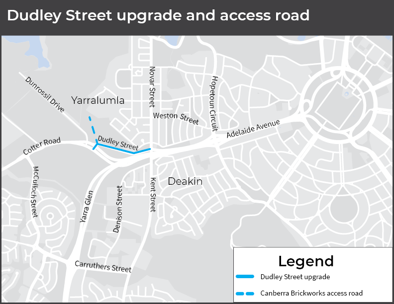 Diagram showing the section of Dudley Street to be upgraded and the location of the future access road into Canberra Brickworks.