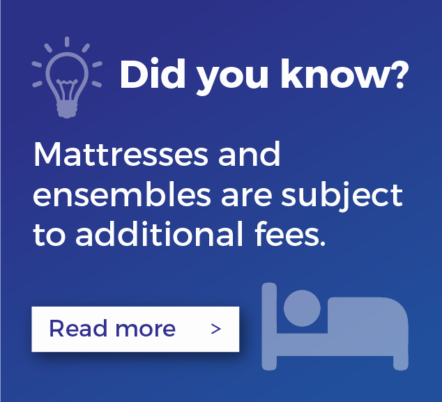 Mattresses and ensembles are subject to additional fees.
