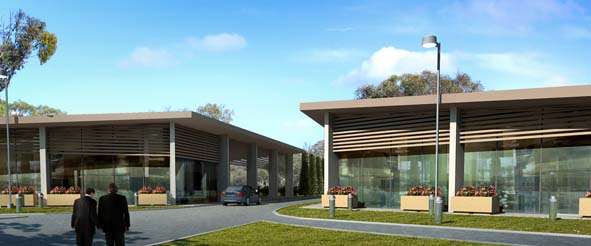 Artist impression of Administration Centre and Memorial Hall