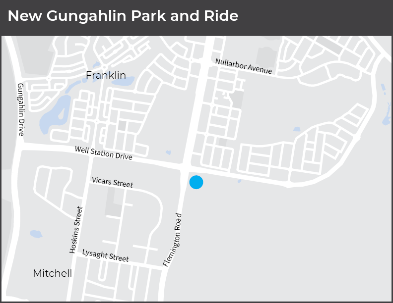 The Park and Ride is located on Flemington Road at the Well Station Drive intersection.